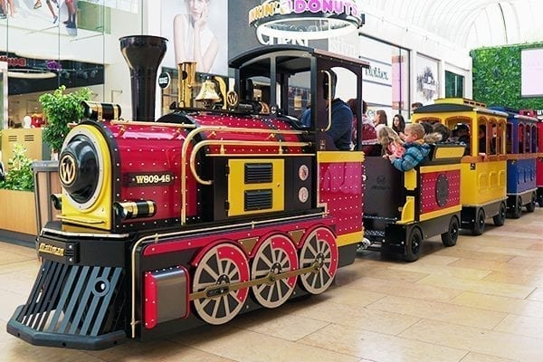 Wattman Mini Express driving in a mall