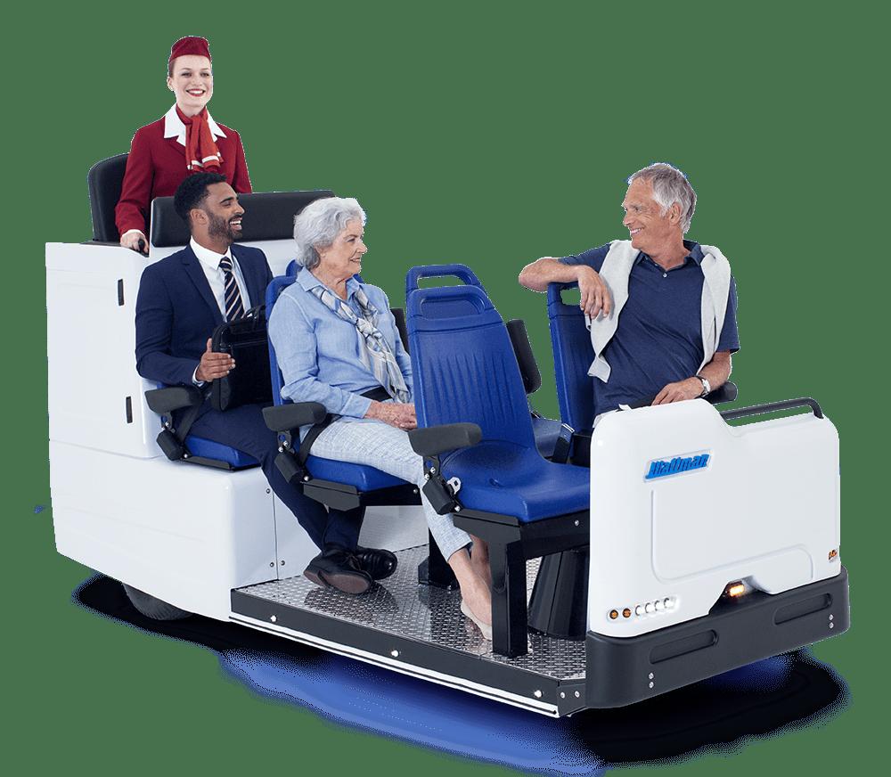 Elderly people sitting on the Wattman MiniShuttle